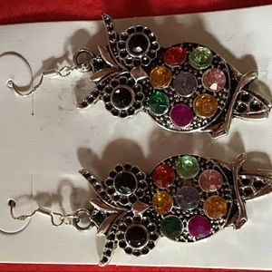 Jewelry - MIC Colorful Owl Crystal Earrings
